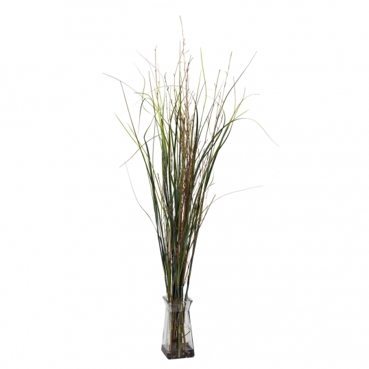 46 Inch Grass And Bamboo In Glass Vase 6690