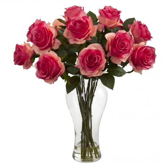 18 Inch Artificial Blooming Roses Arrangement In Vase 1328
