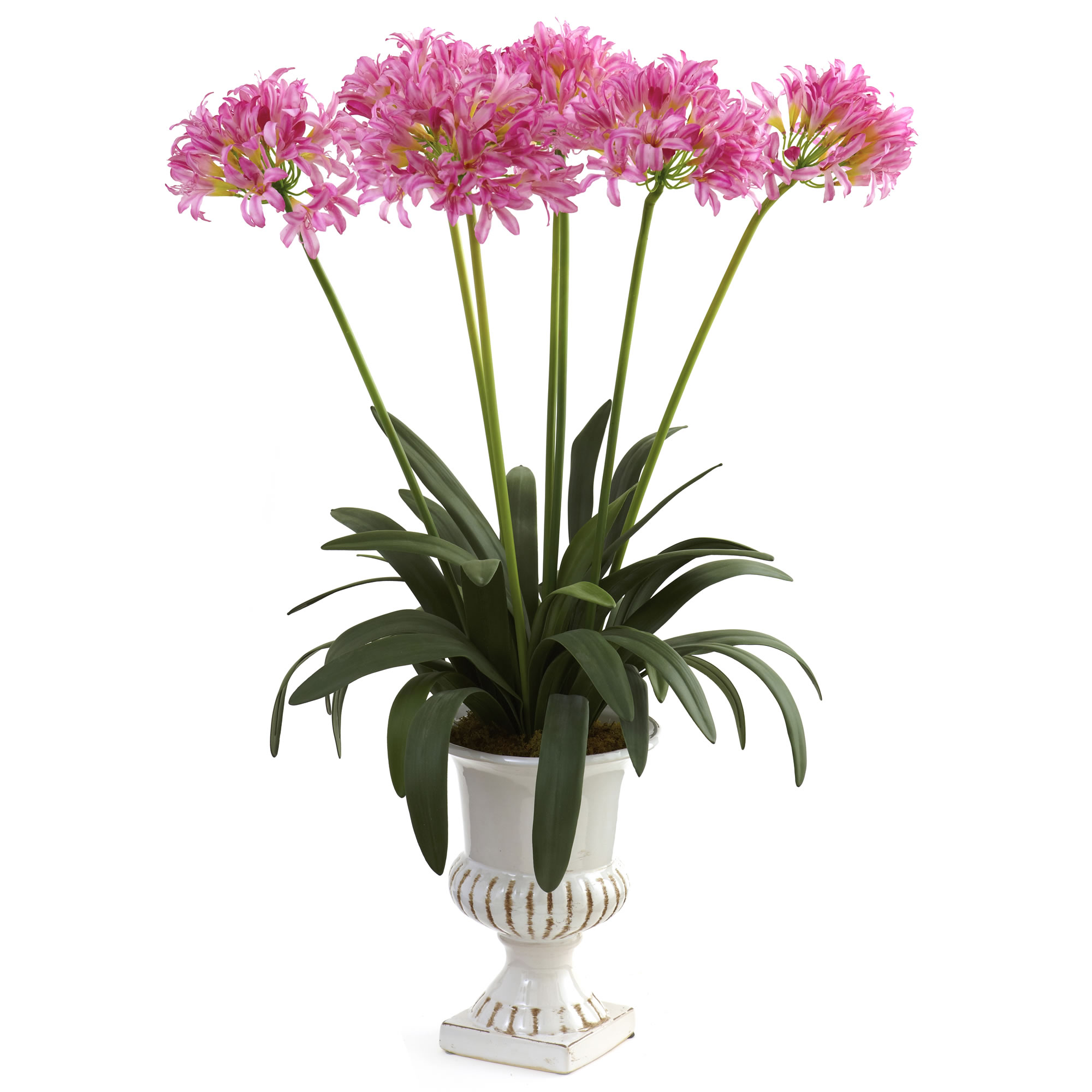 34 Inch Artificial African Lily Arrangement In Urn Multiple Colors