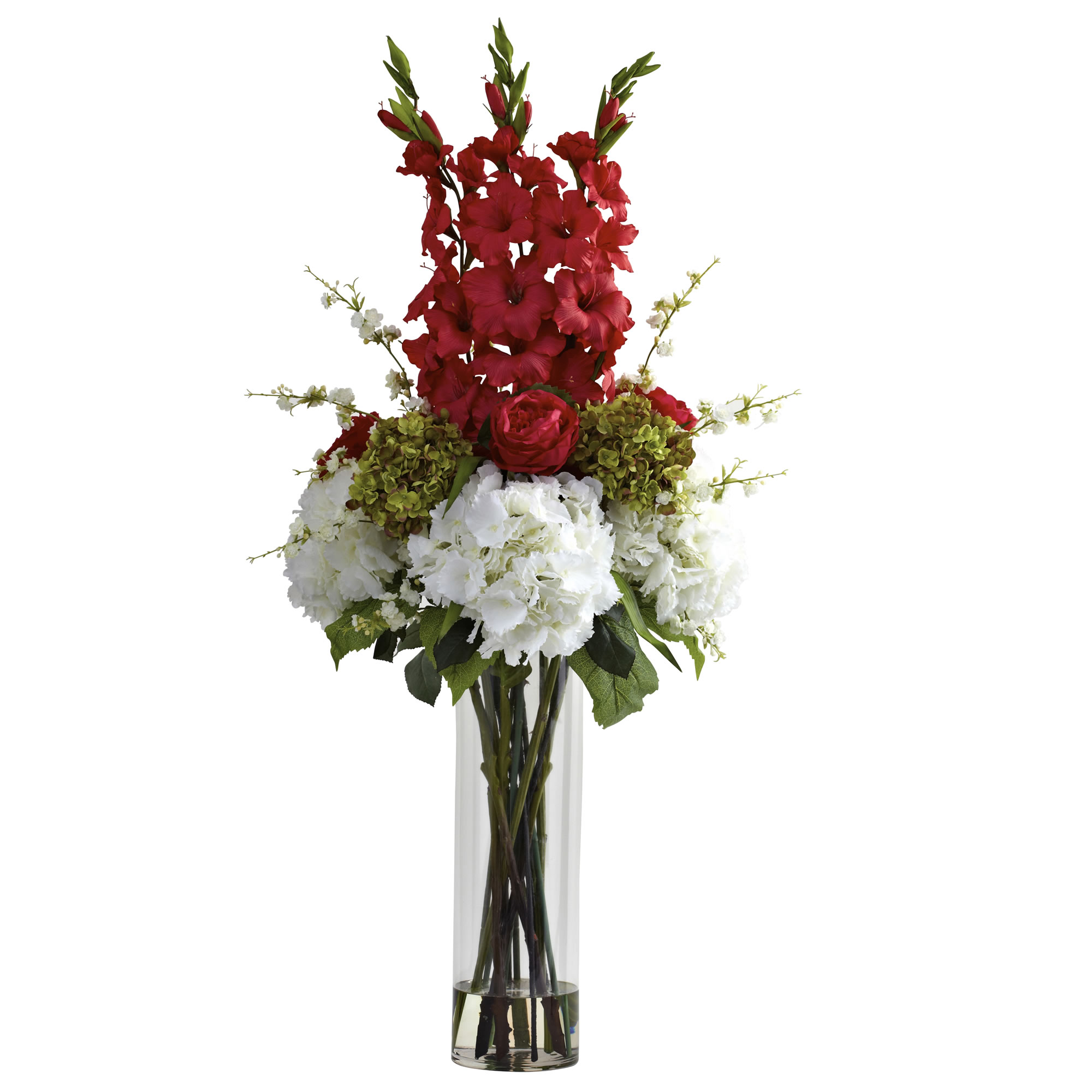 48 inch silk giant mixed floral arrangement in vase: multiple colors