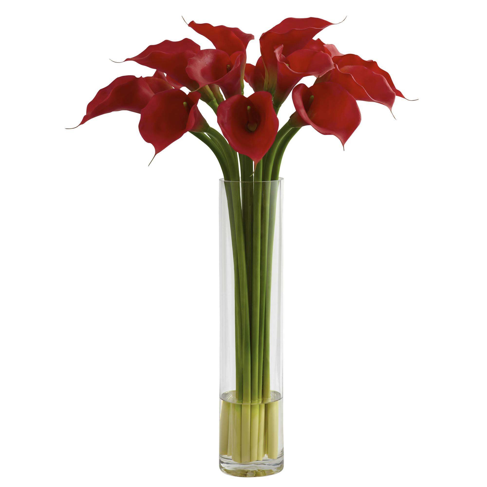 Silk red calla lily arrangement in large cylinder vase 1347 closeup image dhlflorist Images