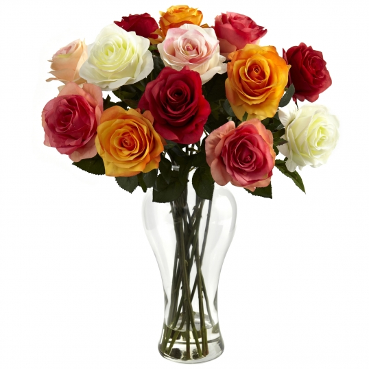 18 Inch Silk Assorted Blooming Roses In Vase 1348