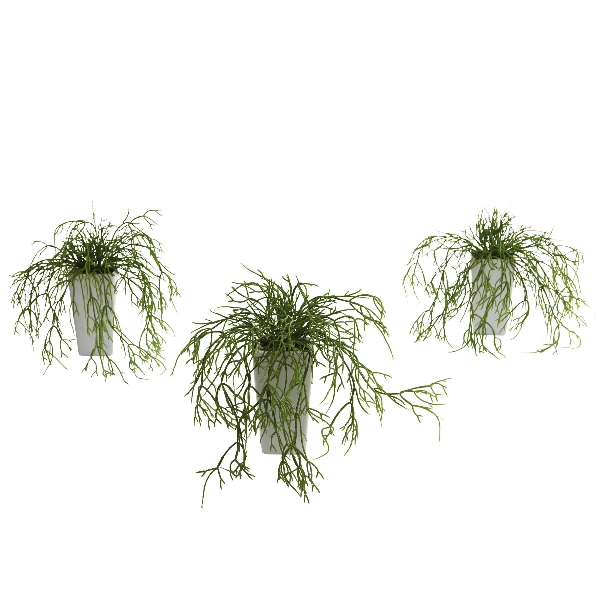 10.5 Inch Artificial Wild Grass In White Vase (set Of 3)