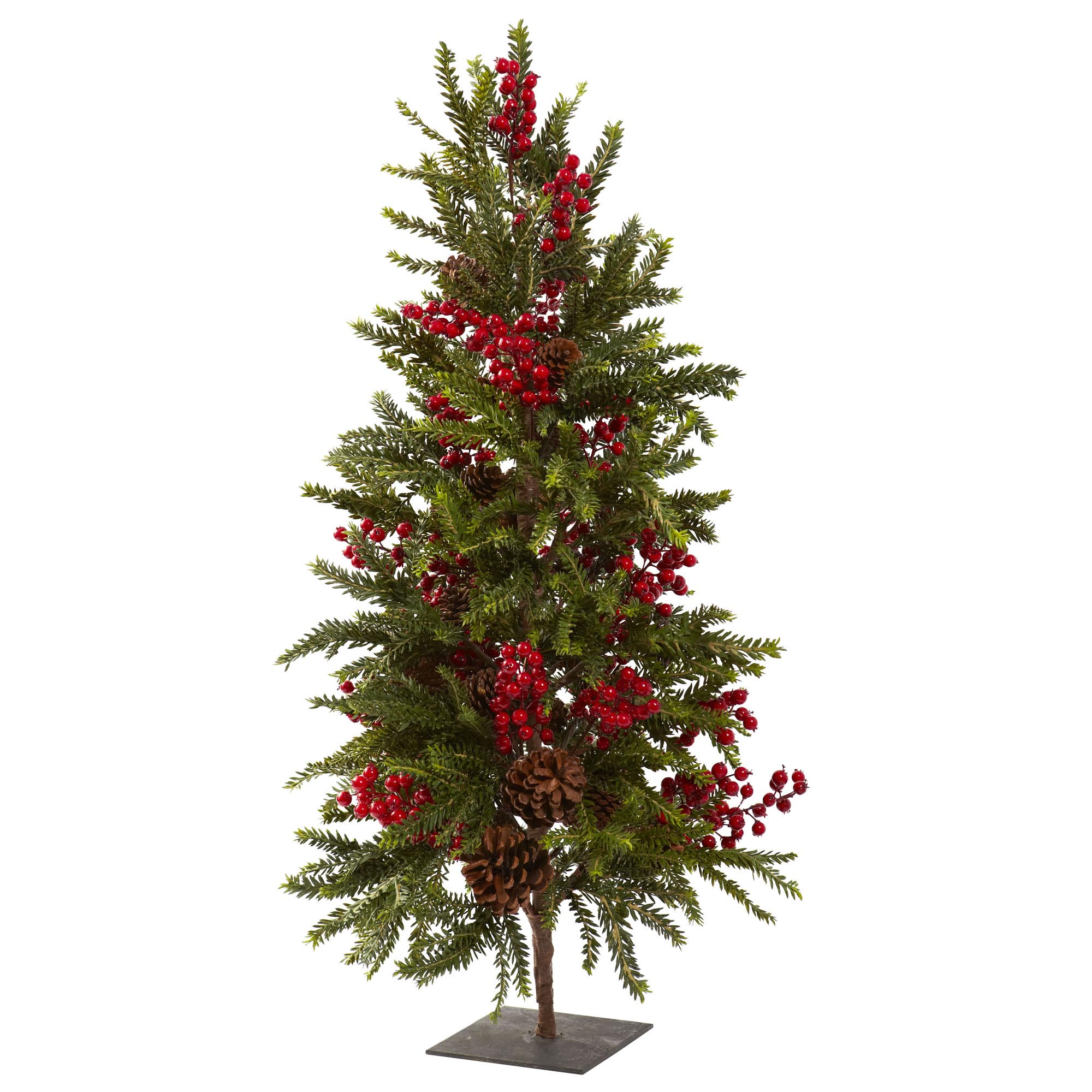 36 inch artificial pine cone berry christmas tree 5350 for Pine cone xmas tree