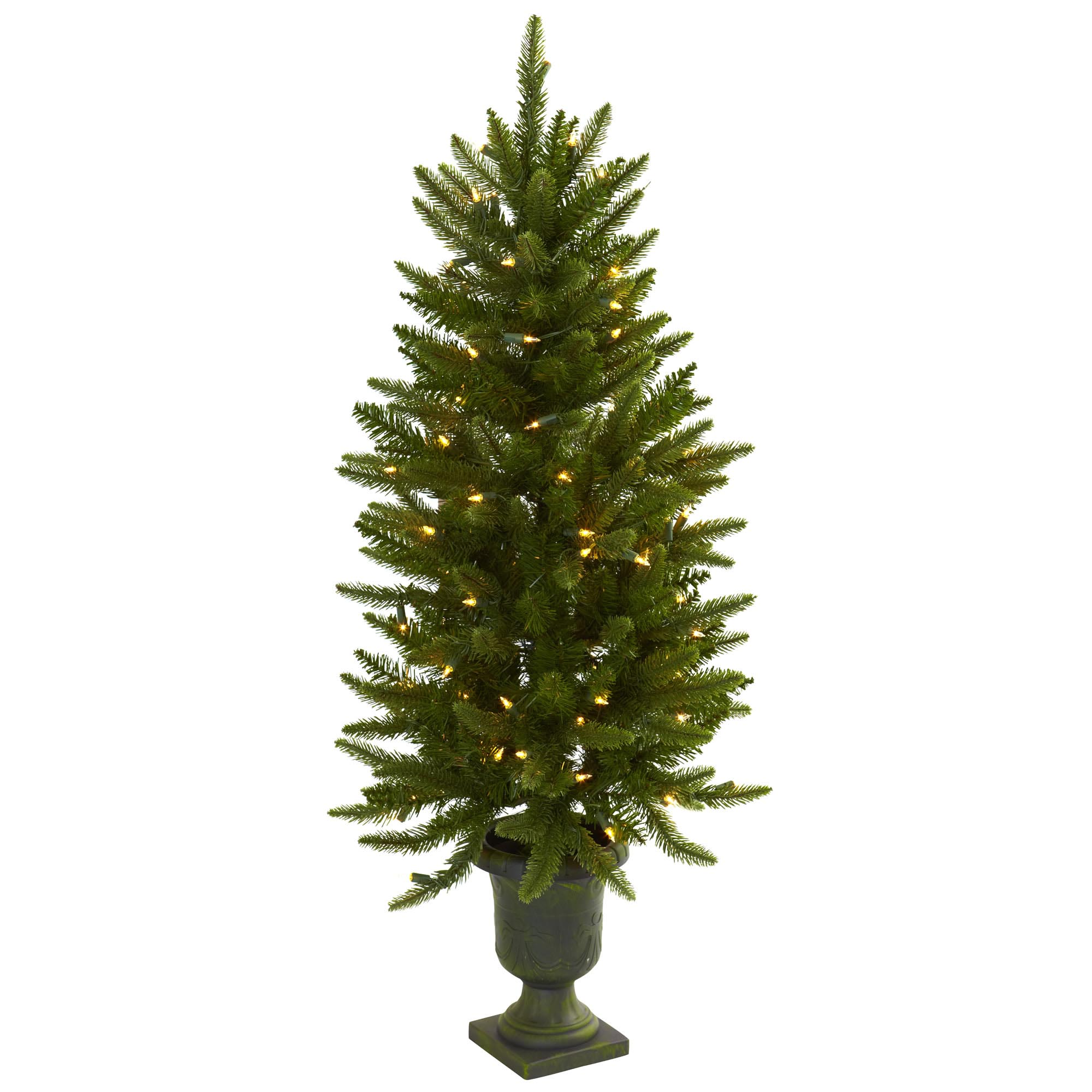 Artificial 4 Foot Christmas Trees: 4 Foot Artificial Christmas Tree In Urn: Clear Lights