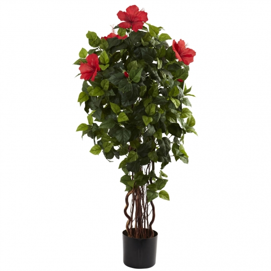 4 foot artificial hibiscus tree : potted | 5410