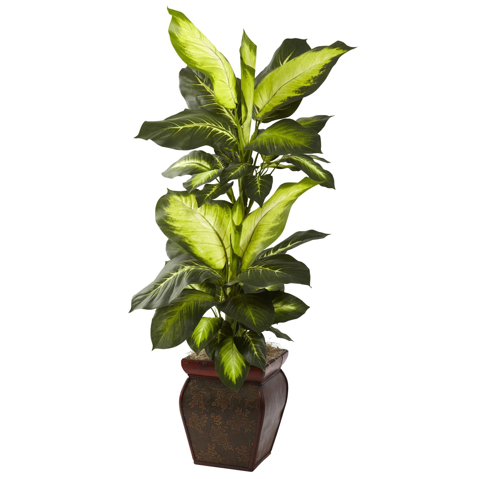 Artificial plants for kitchen - 45 Inch Silk Golden Dieffenbachia In Decorative Planter