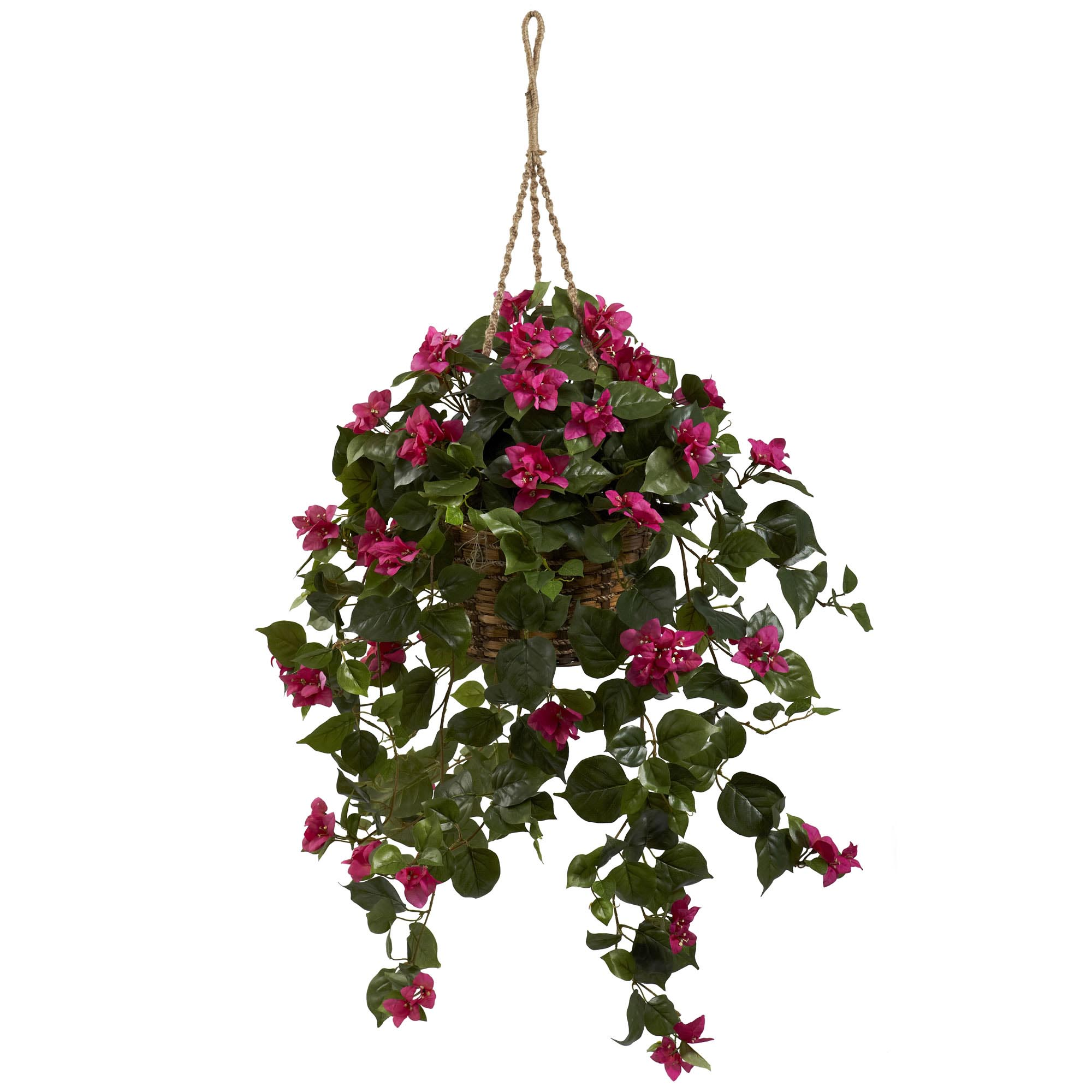 Nearly Natural Geranium Hanging Basket Silk Plant In Pink Contemporary Artificial Flowers Plants