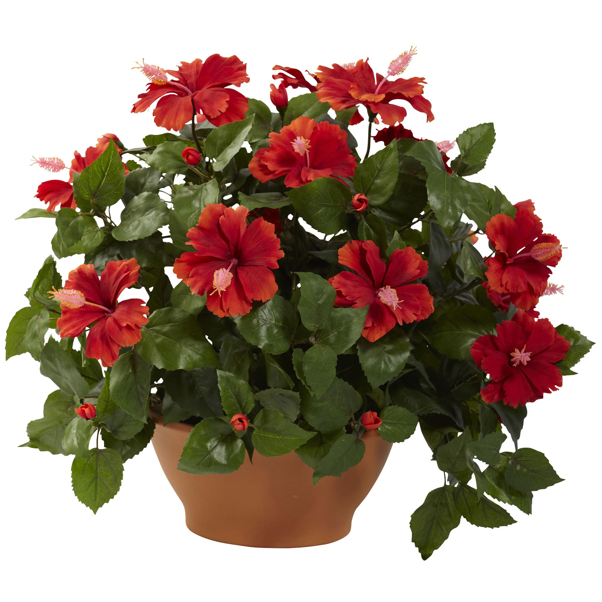 22 Inch Wide Artificial Hibiscus In Clay Planter 6735