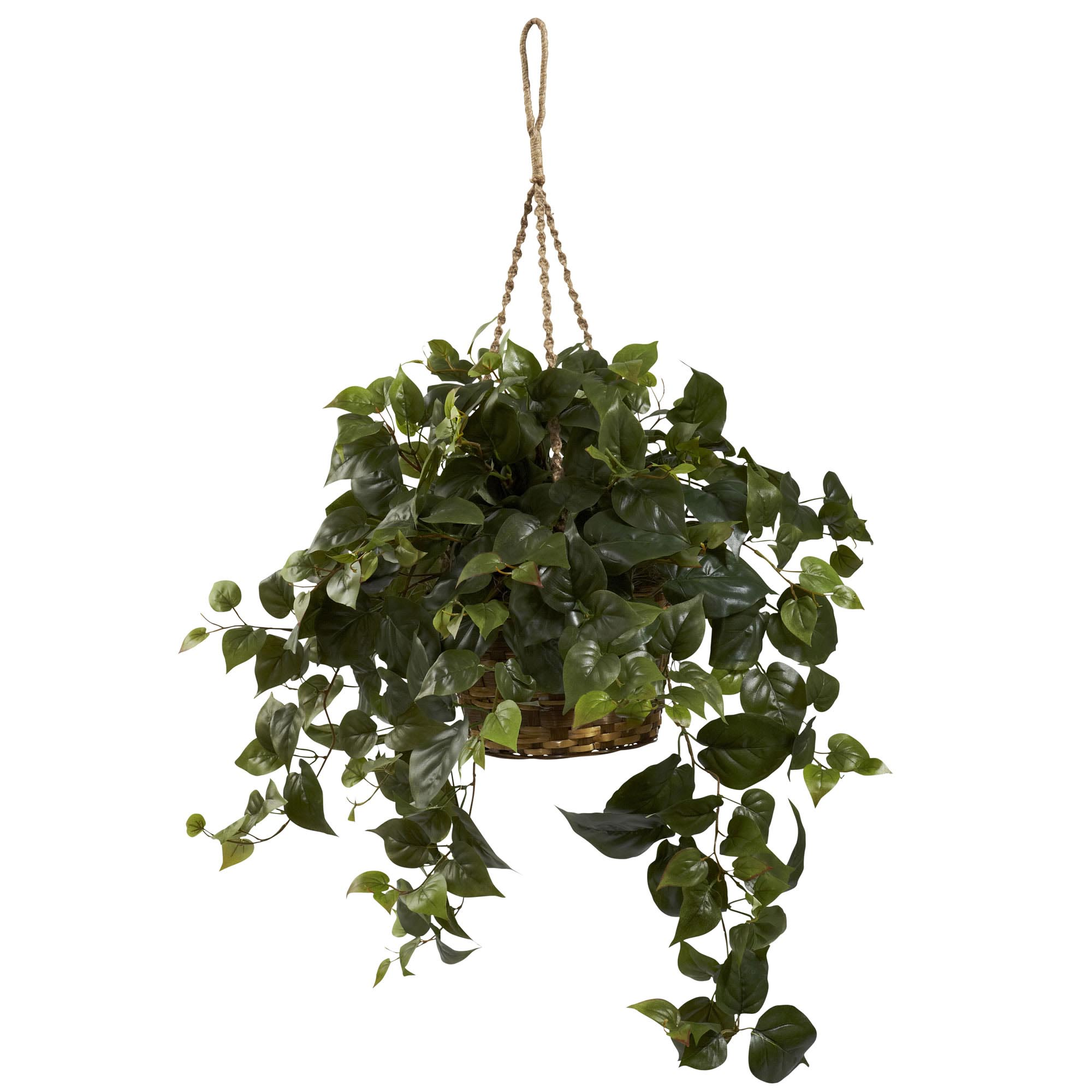 30 inch wide artificial philodendron hanging basket | 6736