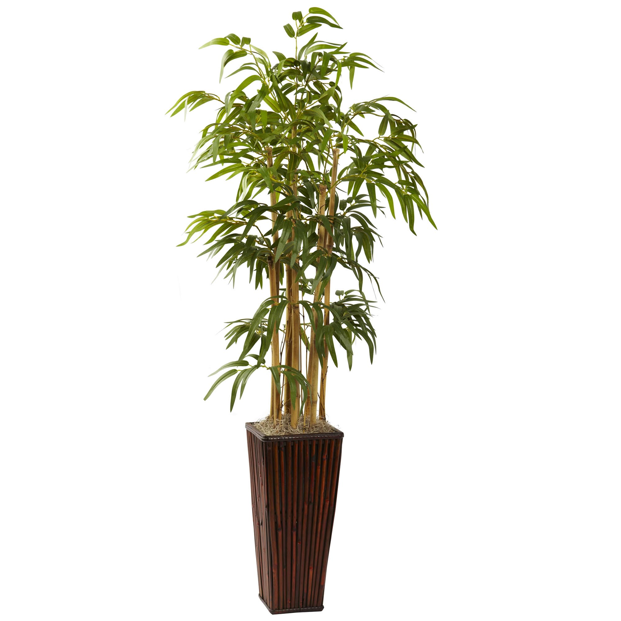 4 foot artificial bamboo in decorative planter 6737 for Faux bambou plante