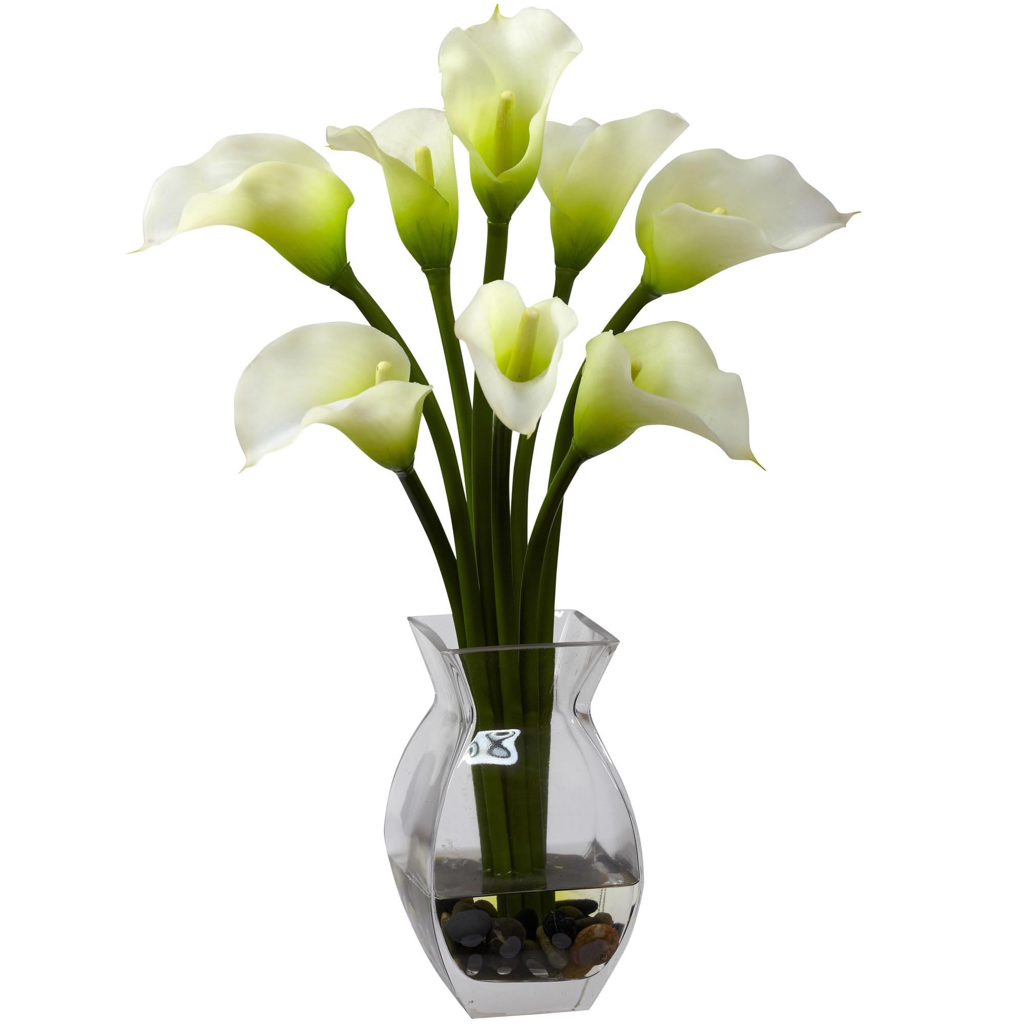 Calla lilly silk flower arrangement in acrylic water 1118 16 inch silk classic calla lily arrangement in vase dhlflorist Images