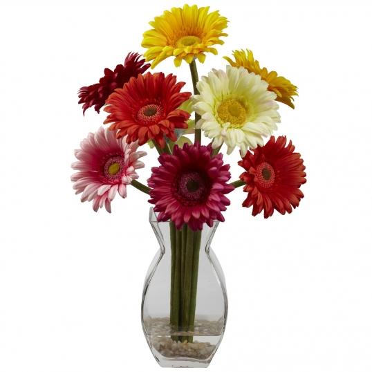 15 Inch Silk Gerber Daisy Arrangement In Vase 1297 As