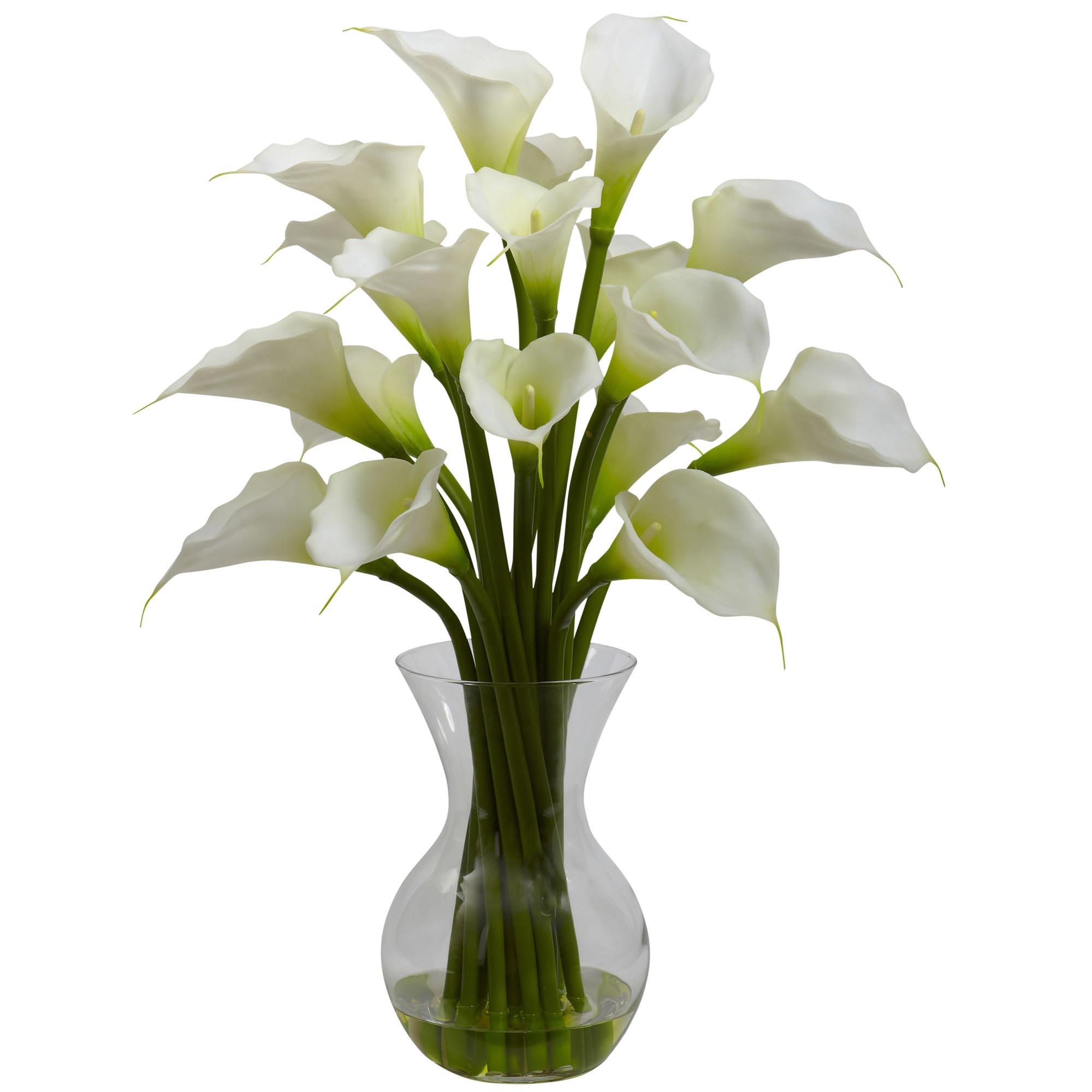26 Inch Silk Gala Calla Lily Arrangement In Vase Multiple Colors 1299