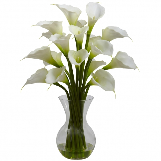 26 Inch Silk Gala Calla Lily Arrangement In Vase Multiple Colors 1299