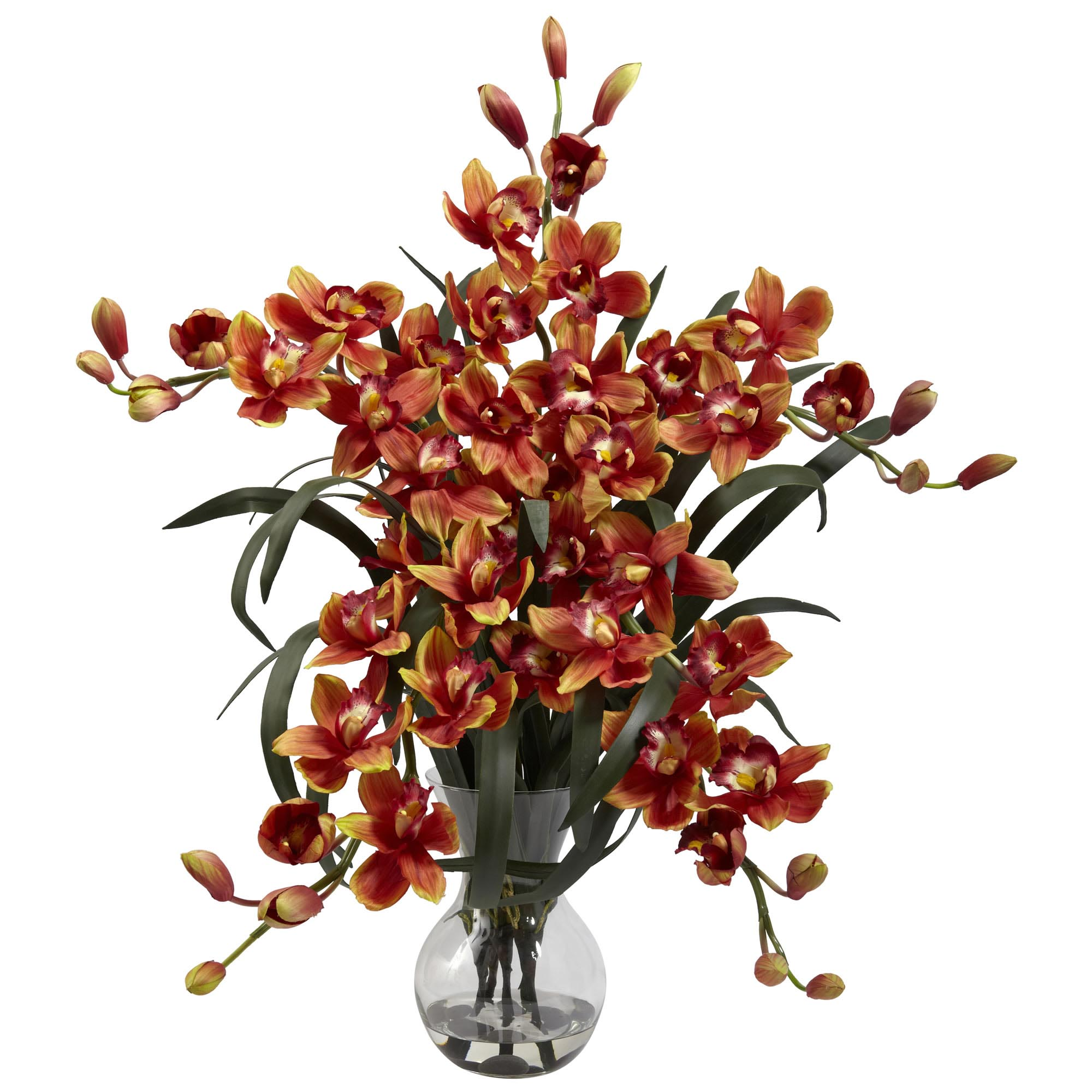 34 inch silk large cymbidium arrangement in vase multiple colors closeup image reviewsmspy