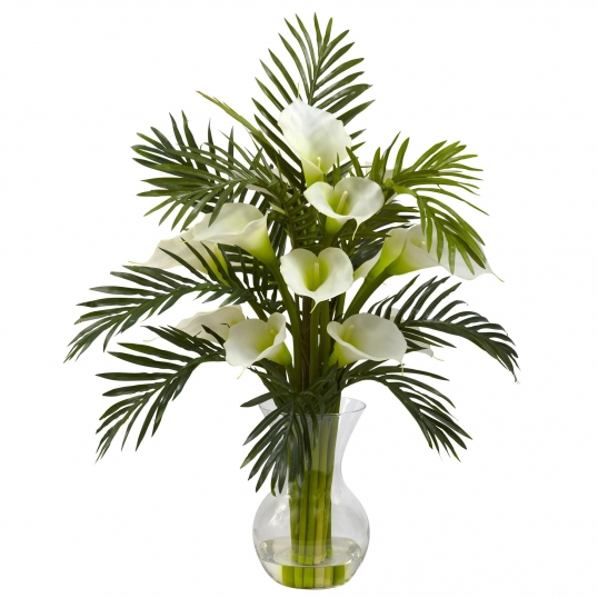 27 Inch Artificial Calla Lily Palm Combo In Vase Multiple Colors