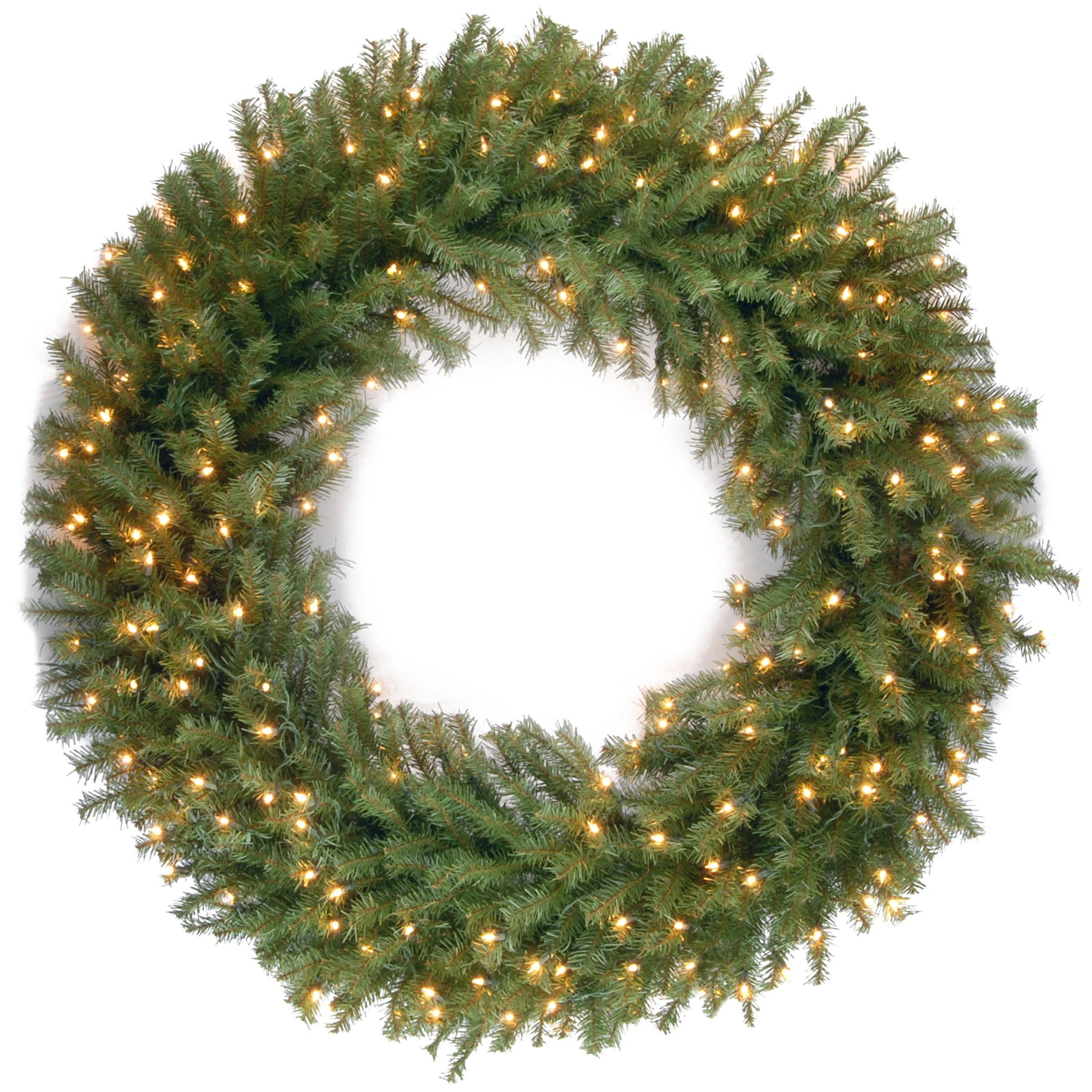 48 inch Norwood Fir Wreath: Warm White LED Lights NF-318L-48W