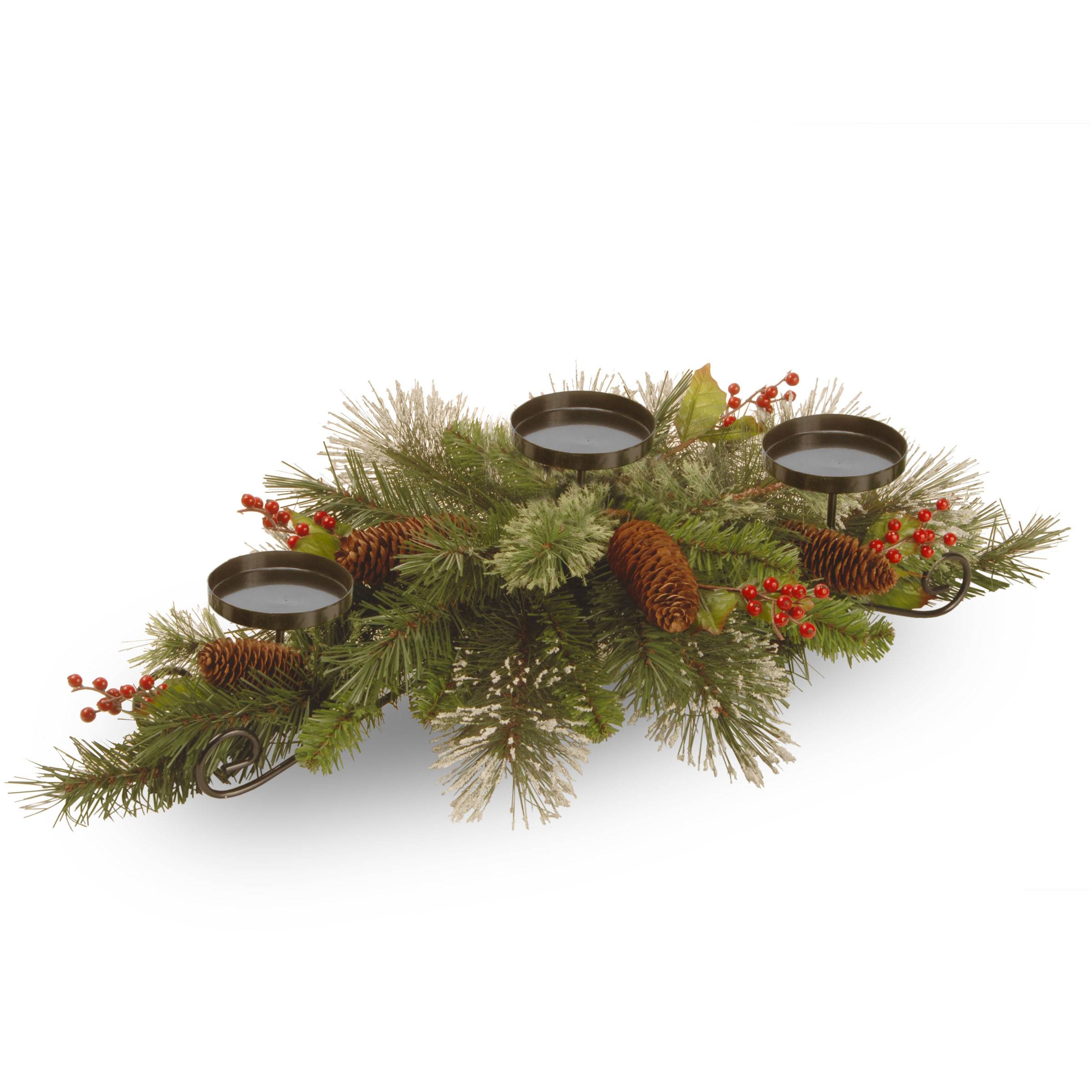 30 inch Wintry Pine Centerpiece:3 Candle Holders w/ Cones, Berries & Snowflakes WP3-832-30C-B