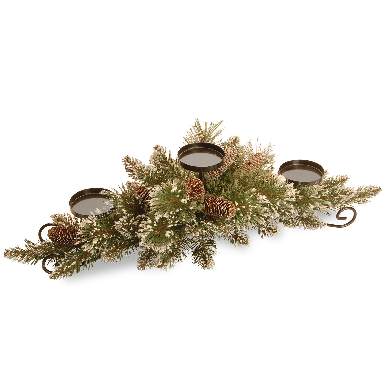 30 inch Glittery Bristle Pine Centerpiece: 3 Candle Holders & Cones GB3-810-30C-B