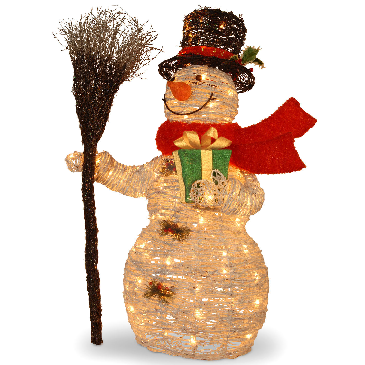 closeup image - National Tree Company 35 Inch White Rattan Snowman Holding Gift