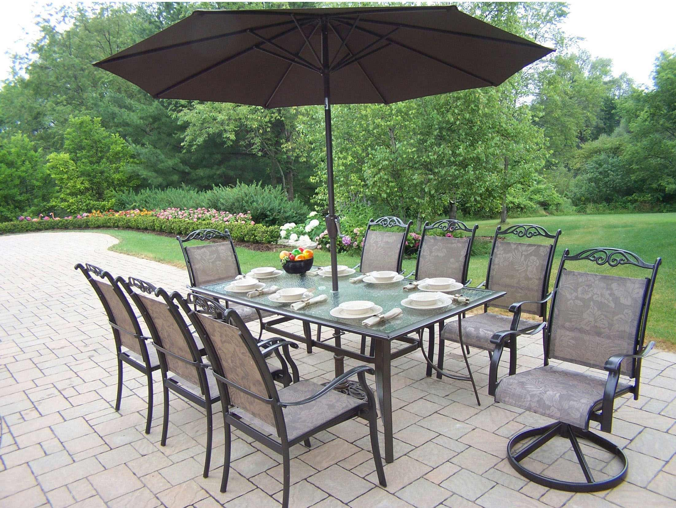 Pretty Dining Set Swivel Arm Chairs Umbrella Product Photo