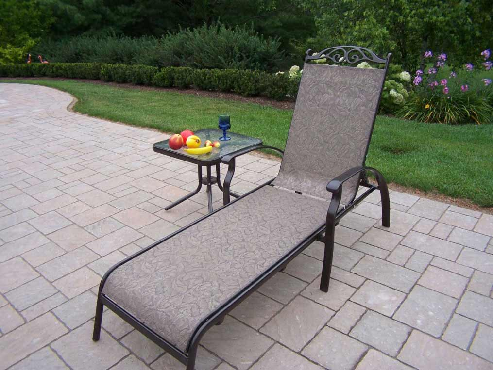 Splendid Chaise Lounge Chair Square Side Table Set Product Photo