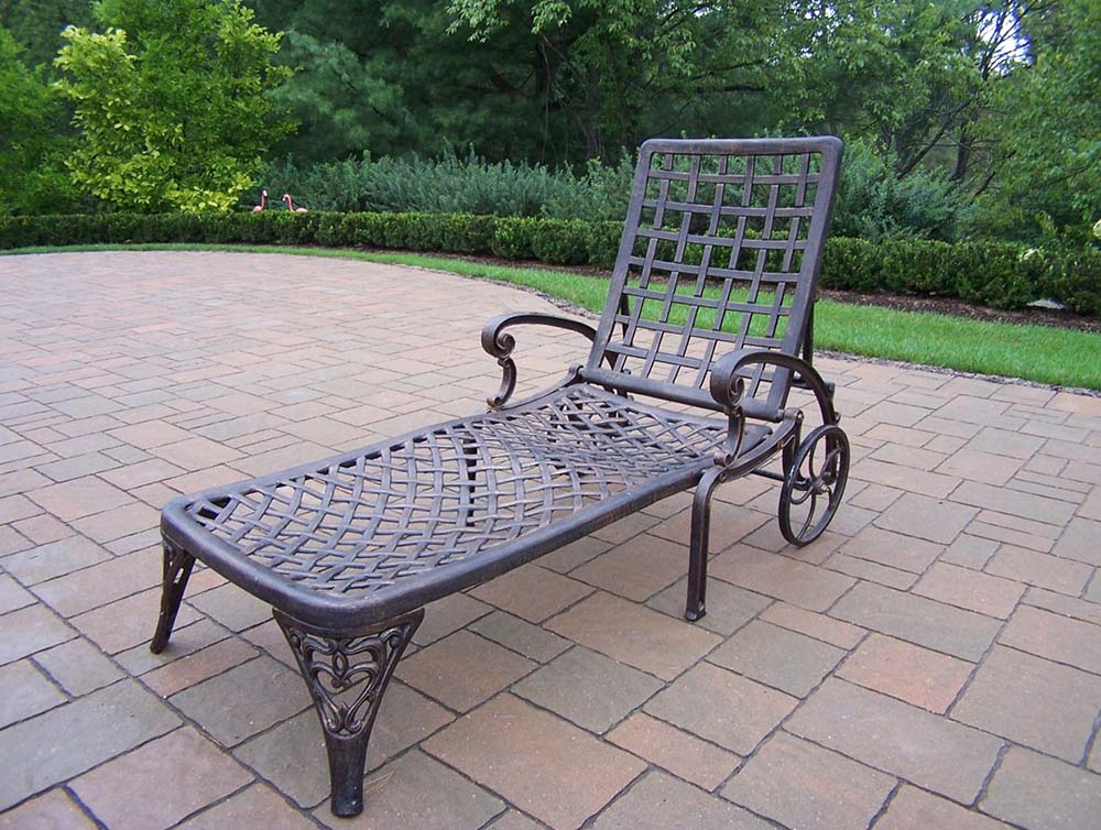 Pretty Elite Cast Aluminum Outdoor Chaise Lounge Product Photo