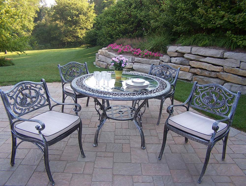 Buy Hummingbird Glass Top Patio Dining Set Cushions Product Photo