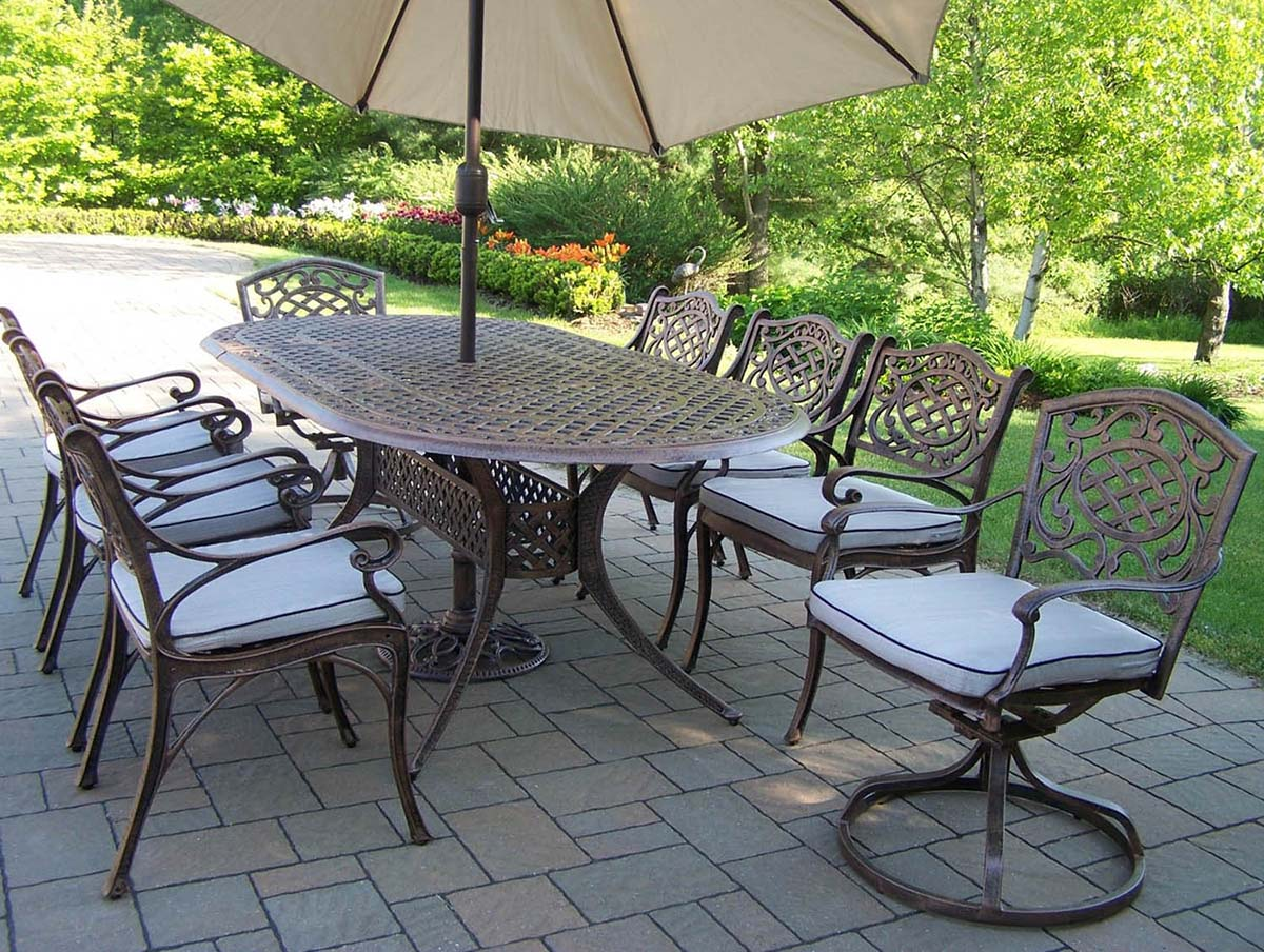 Affordable Oval Patio Dining Set Cushions Umbrella Product Photo