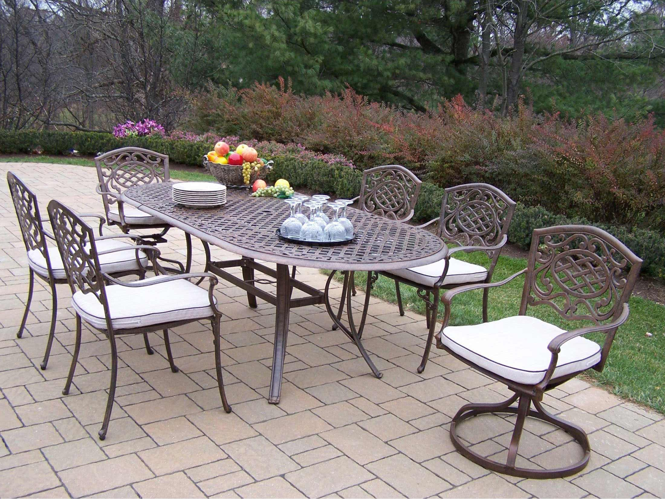 Purchase Oval Patio Dining Set Swivel Chairs Cushions Product Photo