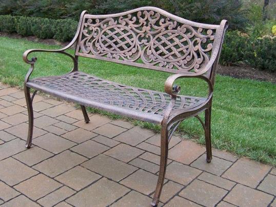 Oakland Living Mississippi Cast Aluminum Settee Garden Bench W