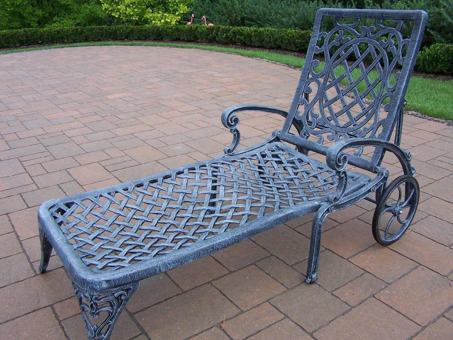 Closeup imageOakland Living   Mississippi Cast Aluminum Wheeled Patio Chaise  . Oakland Living Mississippi Patio Rocking Chair. Home Design Ideas