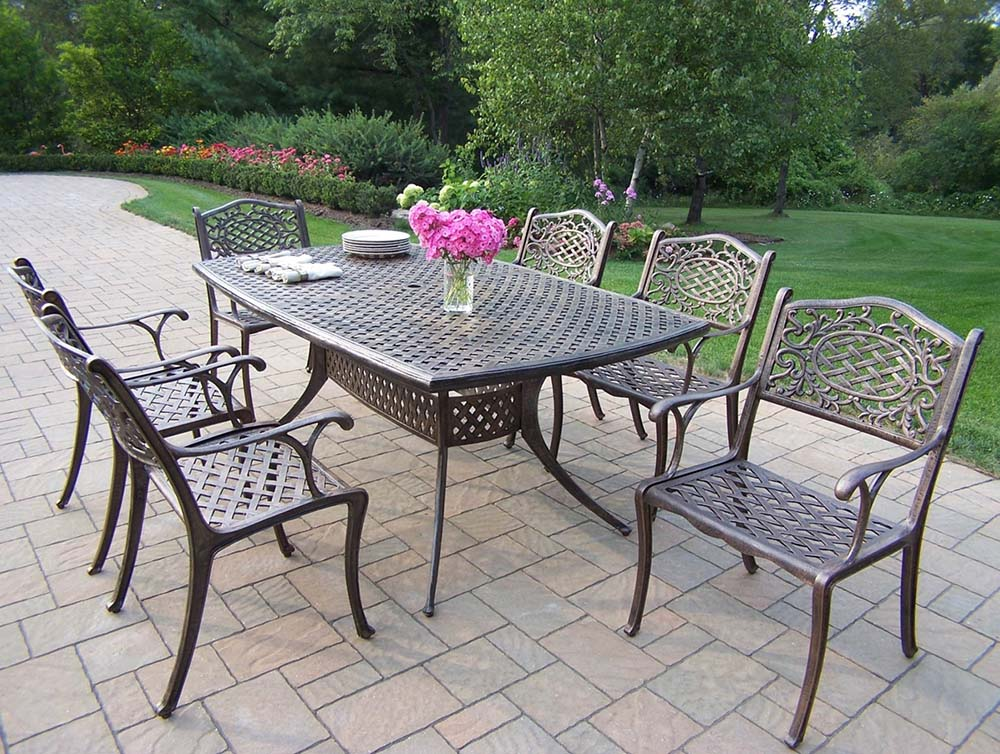 Stunning Oxford Cast Aluminum Patio Arm Chair Dining Set Product Photo