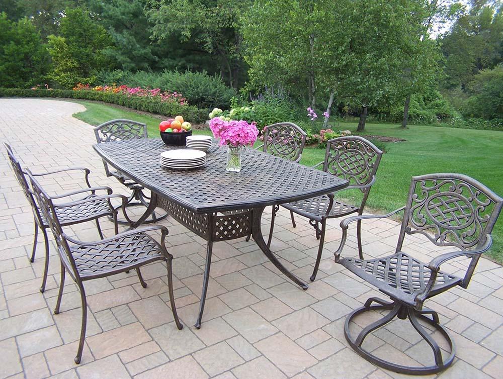 Tasteful Oxford Rectangular Dining Set Swivel Chairs Product Photo