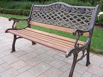 Oakland Living Tea Rose Cast Aluminum Wood Garden Bench By Oakland Livi
