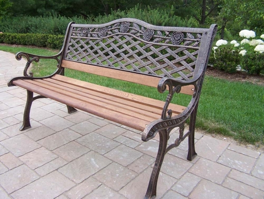 Oakland Living Tea Rose Cast Aluminum Wood Garden Bench 3001 AB