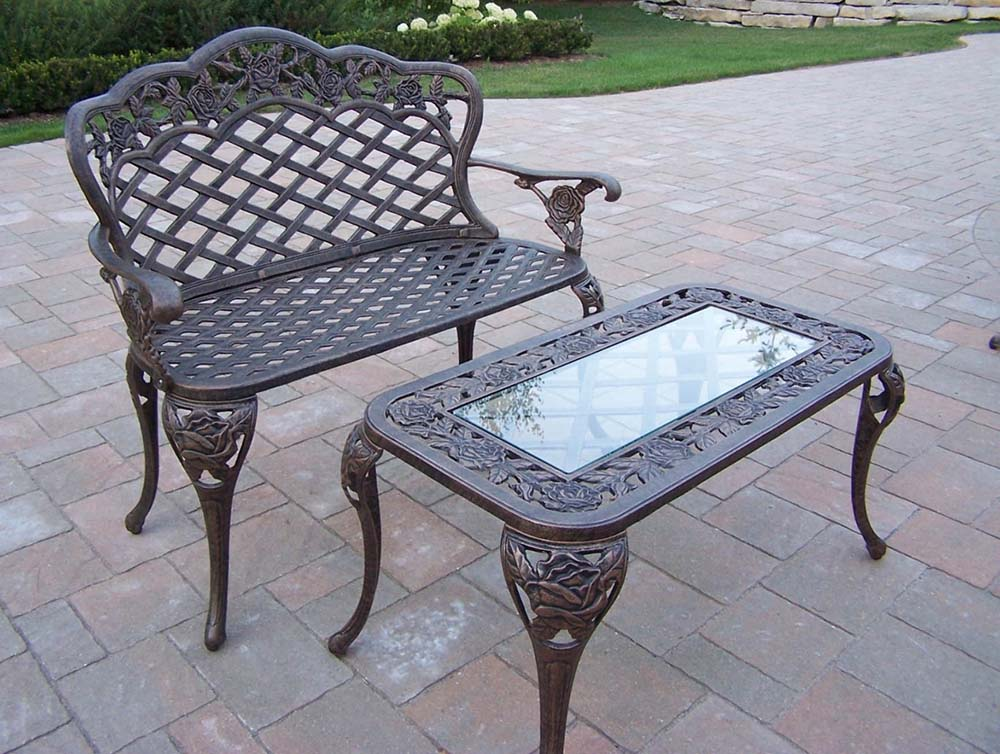 Unique Tea Rose Cast Aluminum Loveseat Coffee Table Product Photo