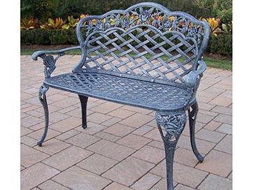 Oakland Living Tea Rose Cast Aluminum Outdoor Garden Love Seat Bench 3006 V
