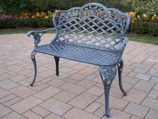 Slim Logo; Tea Rose Cast Aluminum Outdoor Garden Love Seat Bench
