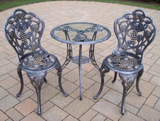 Oakland Living | Vineyard 3pc Round Glass Top Table Bistro Set | 3105-AP