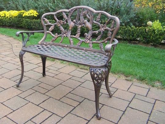 Slim Logo; Hummingbird Cast Aluminum Outdoor Garden Loveseat Bench