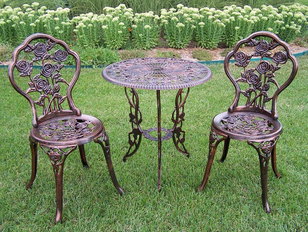 Rose Cast Aluminum 3pc Outdoor Patio Bistro Set