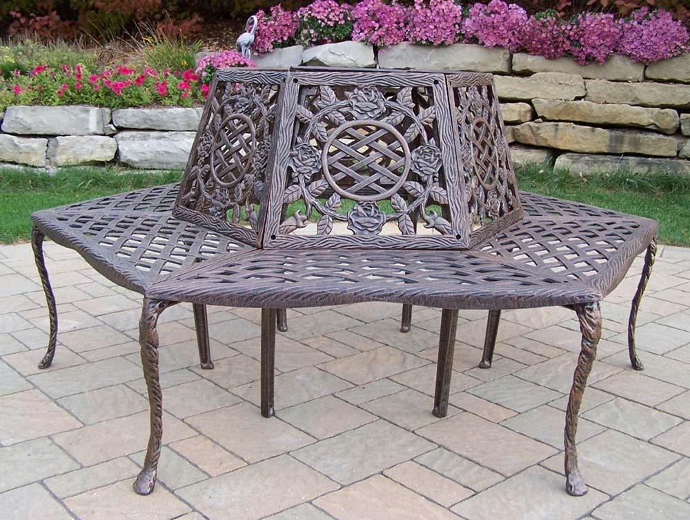 Valuable Tea Rose Cast Aluminum Wrap Around Tree Bench Product Photo