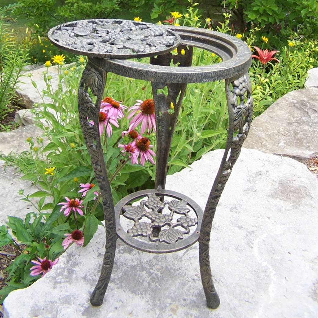 wrought iron plant stands oakland living vineyards grape cast iron table plant 11028