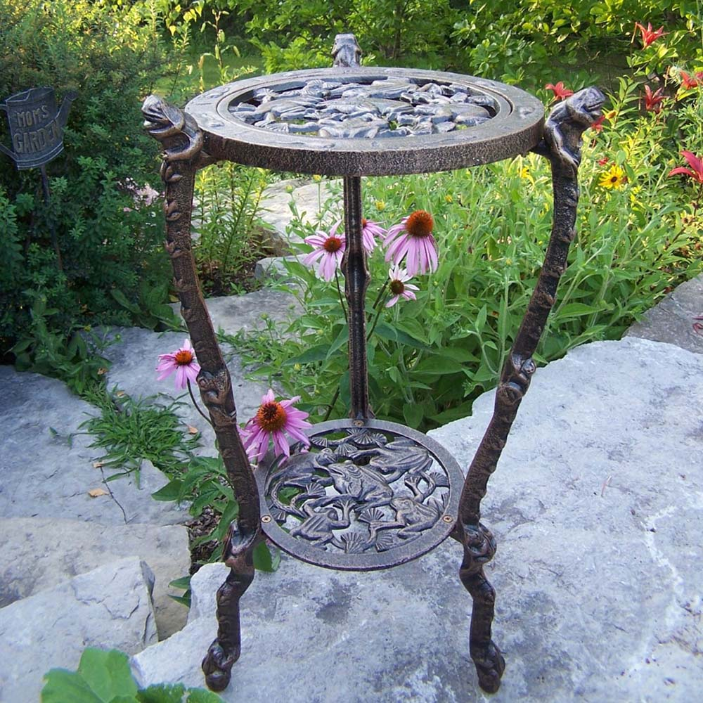 wrought iron plant stands oakland living cast iron frog table plant stand 5078 ab 11028