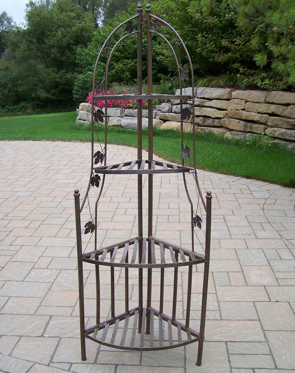 wrought iron plant stands oakland living wrought iron corner shelf plant stand 11028
