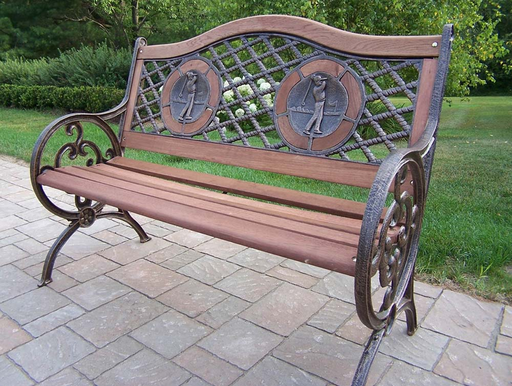 Optimal Cast Iron Wood Golfers Bench Product Photo