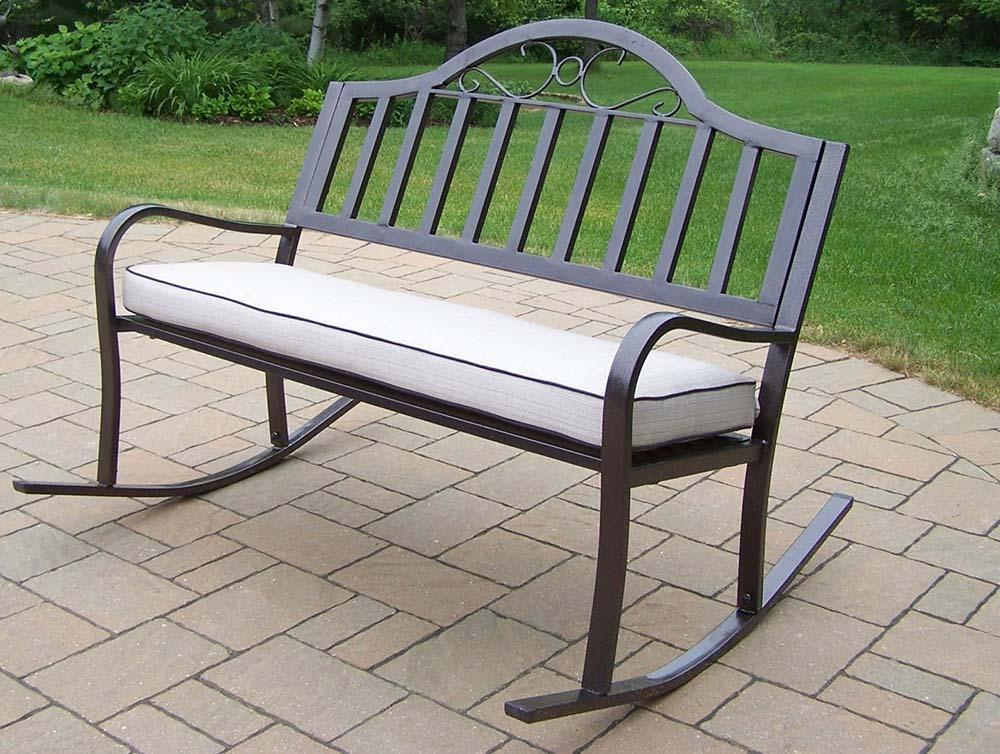 Design Rochester Tubular Iron Rocking Bench Cushion Product Photo