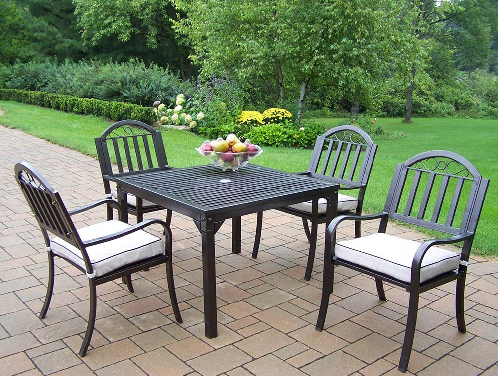 Affordable Rochester Patio Table Dining Set Cushions Product Photo